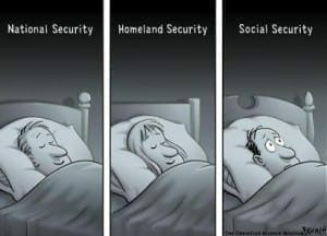 BOSTON, MA, USA - 30JAN02 -Three people are dreaming: National Security dreamer sleeps soundly; Houneland Security dreamer sleeps soundly; Socieal Security dreamer is wide awake. CARTOON: Clay Bennett / The Christian Science Monitor